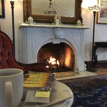 Reading in the main parlor