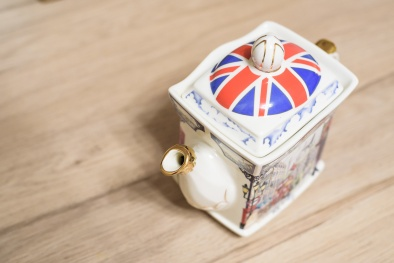 Close up of small porcelain English teapot